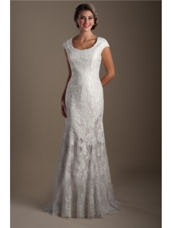 Elegant Mermaid Scoop Neck Cap Sleeve Lace Modest Wedding Dress