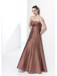 Elegant Mermaid Strapless Long Brown Taffeta Spring Wedding Guest Dress