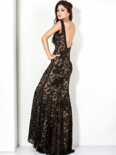 Elegant Mermaid Straps Long Black Lace Beaded Evening Dress Low Back