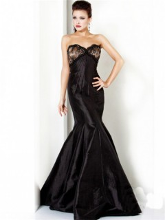 Elegant Mermaid Sweetheart Long Black Evening Dress With Lace Beaded