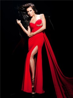 Elegant Sheath Asymmetric One Shoulder Long Red Chiffon Evening Prom Dress With Beaded Strap
