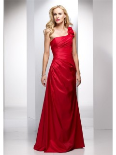 Elegant Sheath One Shoulder Long Red Taffeta Summer Wedding Guest Dress
