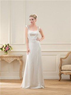 Elegant Sheath Open Back Chiffon Lace Wedding Dress With Buttons
