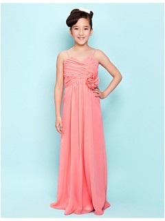 Elegant Sheath Spaghetti Strap Long Watermelon Chiffon Junior Bridesmaid Dress