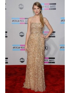 Elegant Strapless Long Gold Sequined Taylor Swift Red Carpet Celebrity Dress