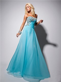 Elegant Strapless Long Light Blue Chiffon Prom Dress With Beading