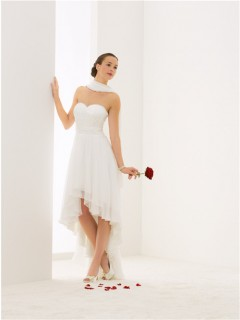 Elegant Strapless Sweetheart High Low Chiffon Outdoor Beach Wedding Dress