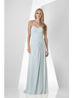Elegant Strapless Sweetheart Long Light Blue Chiffon Draped Wedding Guest Bridesmaid Dress
