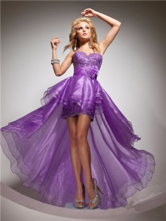 Elegant Sweetheart High Low Purple Organza Party Prom Dress With Beading Sash Flowers