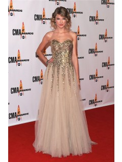 Elegant Sweetheart Long Gold Sequined Taylor Swift Red Carpet Celebrity Dress