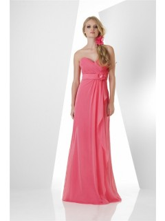 Elegant Sweetheart Long Watermelon Chiffon Bridesmaid Dress With Ruffle Flower Sash