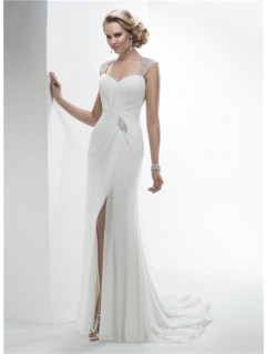 Elegant Sweetheart Open Back Draped Chiffon Summer Beach Wedding Dress With Slit
