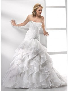 Elegant Trumpet/ Mermaid Strapless Court Train Organza Wedding Dress With Ruffles Crystal
