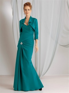 Elegant mermaid sweetheart long jade modern mother of the bride dress with jacket