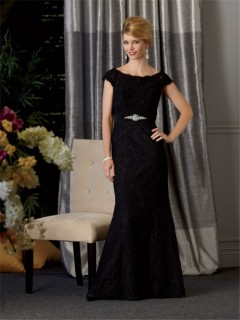 Elegant bateau long formal black lace mother of the bride dress