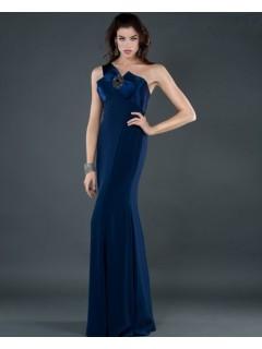 Elegant sheath one shoulder long navy blue chiffon evening dress with bow