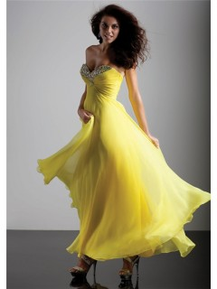 Elegant sheath sweetheart long yellow chiffon prom dress with beading