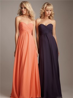Elegant sweetheart floor length long coral silk chiffon bridesmaid dress
