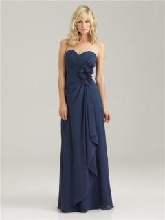 Elegant sweetheart long navy blue chiffon bridesmaid dress with ruffles and flowers
