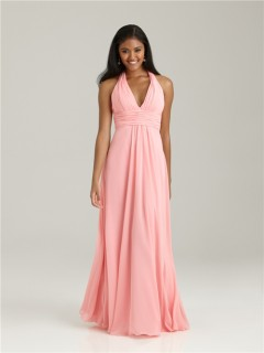 Empire halter floor length long pink chiffon bridesmaid dress