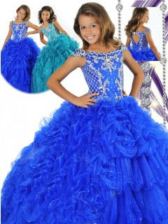 Fancy Ball Gown Royal Blue Tulle Beaded Girls Pageant Party Prom Dress