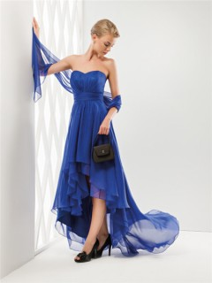 Fashion Cute Strapless Sweetheart Neckline High Low Royal Blue Chiffon Party Prom Dress