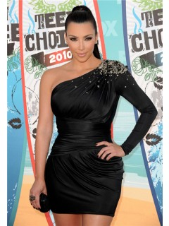 Fashion One Sleeve Short/ Mini Kim Kardashian Black Dress With Crystals