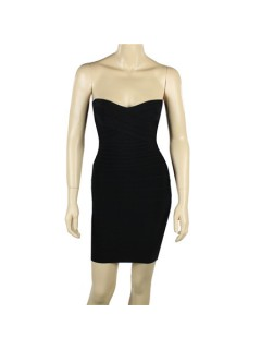 Fashion Sexy Sweetheart Tight Short Black Bodycon Bandage Evening Party Dress