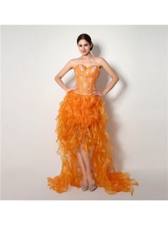 Fashion Strapless High Low Orange Organza Ruffle Corset Prom Dress