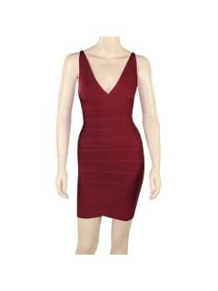 Fashion V Neck Short Mini Burgundy Red Bodycon Bandage Evening Dress