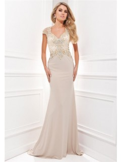 Fitted Cap Sleeve Sheer Back Long Champagne Chiffon Satin Embroidered Evening Prom Dress