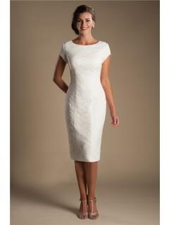 Fitted Cap Sleeve Tea Length Modest Informal Lace Wedding Dress