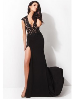 Fitted Deep V Neck Cap Sleeve High Slit Long Black Chiffon Lace Evening Prom Dress