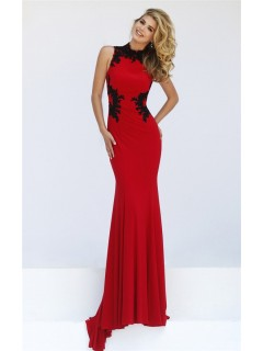 Fitted Hight Neck Sleeveless Red Jersey Black Lace Evening Prom Dress