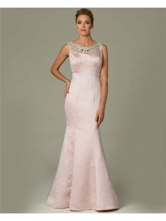 Fitted Mermaid Bateau Neck Light Pink Satin Beaded Evening Dress With Straps
