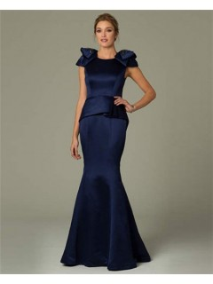 Fitted Mermaid Cap Sleeve Navy Blue Satin Modest Occasion Evening Dress