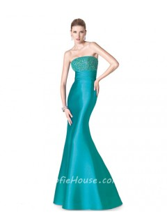 Fitted Mermaid Strapless Long Aqua Satin Beaded Special Occasion Evening Dress