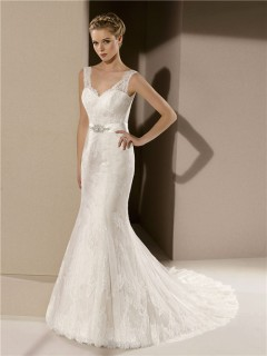 Fitted Mermaid V Neck Low Back Ivory Lace Wedding Dress With Crystal Sash