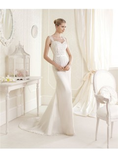 Fitting Sweetheart Neckline Sheer Back Venice Lace Chiffon Wedding Dress With Straps