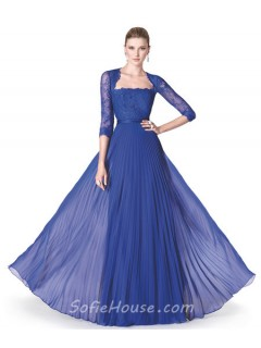 Flowing A Line Royal Blue Chiffon Pleated Special Occasion Evening Dress Lace Sleeves