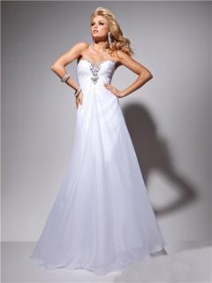 Formal A Line Princess Sweetheart White Chiffon Evening Prom Dress Beading