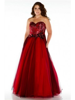 Formal A Line Strapless Long Red Sequins Tulle Plus Size Evening Prom Dress