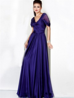 Formal A Line V Neck Long Royal Blue Chiffon Evening Dress With Sleeve