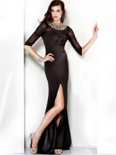 Formal Mermaid Long Black Chiffon Beading Evening Dress Cut Out Back