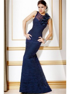 Formal Mermaid Long Navy Blue Pleated Chiffon Evening Dress With Flowers