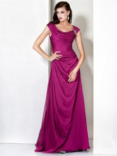 Formal Modest A Line Bateau Long Fuchsia Chiffon Evening Dress