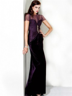 Formal Sheath Slim Long Purple Chiffon Evening Wear Dress With Sleeves