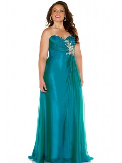 Formal Sheath Sweetheart Long Teal Chiffon Beaded Plus Size Evening Prom Dress