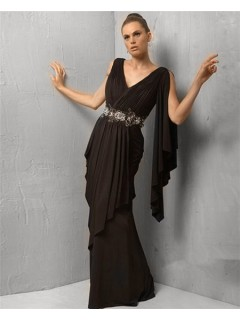 Formal Sheath V Neck Long Black Chiffon Evening Dress With Ruffles
