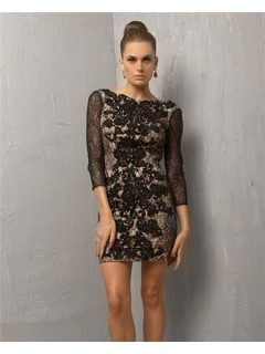 Formal Short/ Mini Black Lace Backless Cocktail Evening Dress With Sleeves